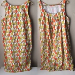 eShatki retro fruit print pinafore dress pockets L